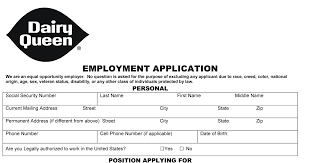 dairy queen job application printable job employment forms organization details