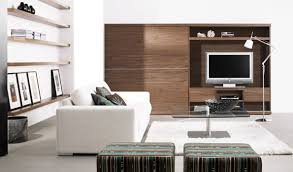 open shelves design with stripes ottomans feat wood wall storage unit in amazing living room and