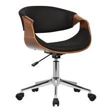 Geneva Mid Century <b>Office Chair Black Faux</b> Leather - Armen Living ...