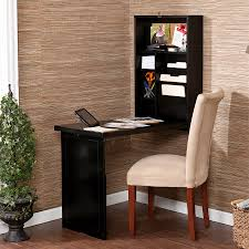 wood wall mounted black fold away computer desk design with file cabinet storage and stationery shelves plus chair with white fabric cover in the corner cover desk