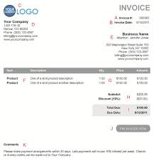 the 10 different sections of an electronic payment invoice a
