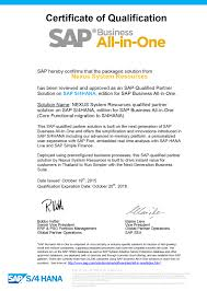 sap business all in one certified nexus system resources co core functional migration to s 4hana