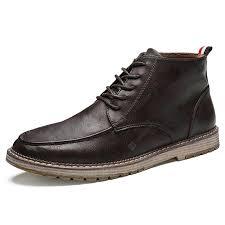 <b>SENBAO Men's</b> Pure Color Lace Up <b>Boots</b> Microfiber Leather Upper ...