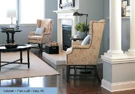 living room kb home blue walls brown furniture