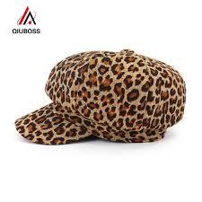 2019 <b>QIUBOSS</b> Fashion <b>New Women</b> Leopard Print Newsboy Caps ...