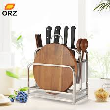 <b>ORZ</b> Kitchen <b>Cutting Boards</b> Organizer Knife Block with Drainboard ...