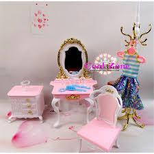 free shipping 4 items dresser set miniature dollhouse furniture for barbie doll best gift toy for barbie dollhouse furniture sets