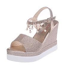 2019 Fashion Women Pearl Chain Roman Sandals ... - Amazon.com