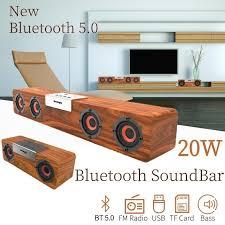 <b>20W</b> Handmade TWS <b>Wooden</b> Bluetooth <b>TV</b> Soundbar Surround ...