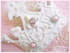 pink princess crown d shabby chic wal l bed crown white pink bling romantic home girls room