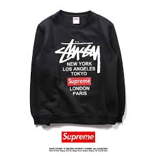Beautiful Supreme X Stussy Classic <b>Printing</b> Black <b>Hoodie</b> Hot Sale ...