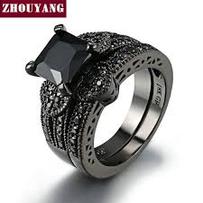 Love Heart Blcak Gold Color Ring Sets AAA Square Black <b>Cubic</b> ...
