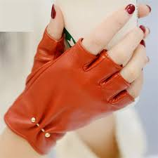 2019 <b>New</b> Women's <b>Genuine Leather Semi Finger</b> Gloves Fashion ...