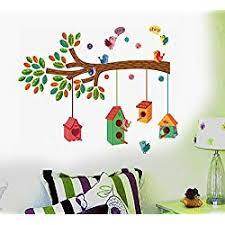 Decals Design '<b>Tree</b> with <b>Birds</b> and Cages' Wall Sticker (PVC <b>Vinyl</b> ...