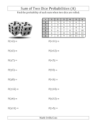 Sum of Two Dice Probabilities with Table (A) Statistics WorksheetFull Preview