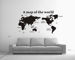 wall art decor world map cool office black painted silhouette style stunning guest room long awesome black painted