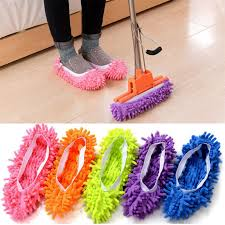 <b>1pc Lazy</b> Cleaning Slipper <b>Shoe</b> Reusable Chenille Fibre Floor Dust ...