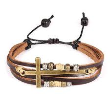 <b>Stylish</b> FAMA Black & Brown <b>Leather</b> Bracelet with Light Blue <b>Rope</b> ...