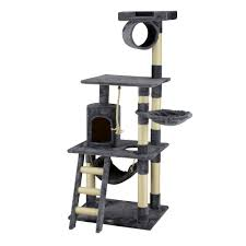 """Go Pet Club Classic Gray <b>Cat Tree with Sisal</b> Covered Posts, 62"""" H ..."""