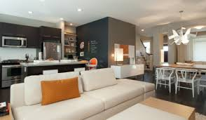Small Kitchen Living Room Kitchen Open Kitchen And Living Room Concept With White Loveseat