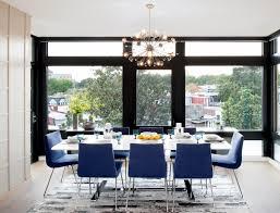 blue upholstered dining