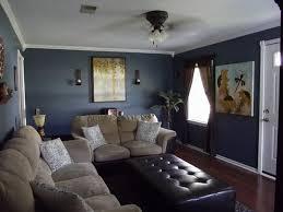 dark grey blue walls bright white trim beige brown furniture wall color