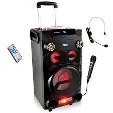 sound system wireless: pyle portable pa speaker karaoke speaker boombox wireless belt pack headset microphone mic