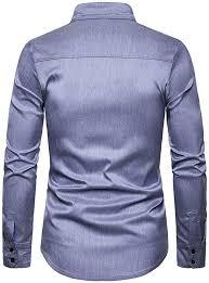 Shirt for <b>Men Autumn Casual</b> Long Sleeve Dress Shirt Pure Colour ...