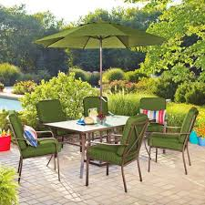 patio table and 6 chairs: mainstays crossman  piece patio dining set green seats  patio furniture