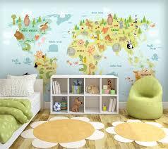 <b>beibehang Custom wallpaper 3d</b> mural cartoon world map ...