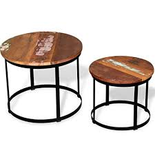 Tidyard <b>Two Piece Coffee</b> Table Set Solid Reclaimed Wood Round ...