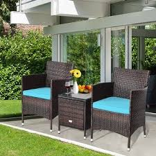 Costway Outdoor <b>3 PCS</b> Rattan Wicker Furniture Sets Chairs <b>Coffee</b> ...