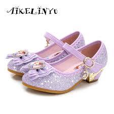 2018 autumn girls single shoes princess korean student purple crystal high heels frozen show