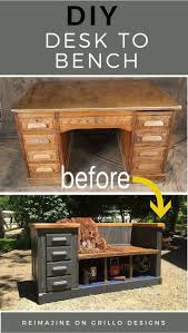jill and ron from reimajine share how they created this diy desk to bench conversion from astonishing pinterest refurbished furniture photo