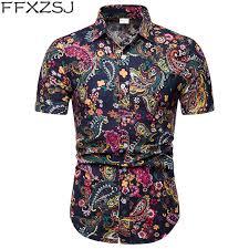 <b>FFXZSJ Brand 2019</b> summer Men's short sleeve Linen shirt printing ...