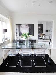 glass dining table and acrylic chairs with black white design elements bathroomlovely lucite desk chair vintage office clear