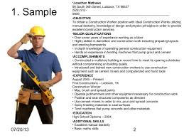 resume sample for construction worker  seangarrette coconstruction worker resume sample    resume sample for construction