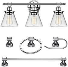 Globe Electric Parker <b>5</b>-Piece All-in-One <b>Bathroom Set</b>, Chrome, 3 ...