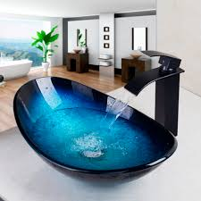 bathroom countertop basins wholesale: waterfall spout basin black tapbathroom sink washbasin tempered glass hand painted