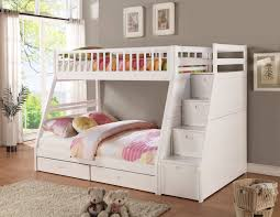 image of twin white bunk bed with stairs children bunk beds safety