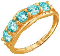 Эстет <b>Кольцо с 5 фианитами</b> из красного золота 01К2110859-1 ...
