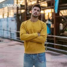 SIMWOOD 2019 <b>Autumn new long sleeve t shirt</b> men casual basic ...