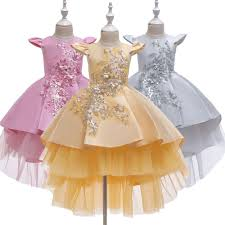 <b>Romantic Puffy Lace</b> Beaded Frocks Flower Girls Dress For ...