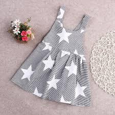 <b>Girl Summer Dresses</b> Children Strip Star Print Princess Blackless ...
