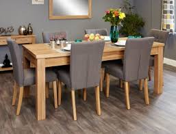baumhaus mobel extending oak dining set with 6 flare back grey upholstered chairs baumhaus mobel oak 4