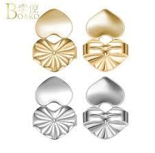<b>BOAKO</b> Earring Backs Support Lifts Lifters Heart Shape <b>Gold Silver</b> ...