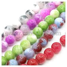 Natural Persian Jade Beads Strands, Dyed, Round, Mixed <b>Color</b> ...