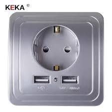 <b>KEKA EU Plug Socket</b> Dual USB Port <b>socket</b> Wall Charger Adapter ...