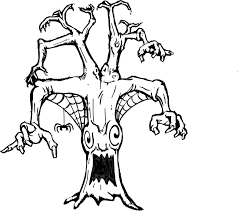 Small Picture printable coloring page of a scary tree with spider web Coloring