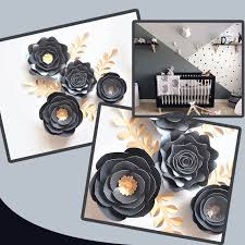 Online Shop Black Gold Rose <b>DIY Paper</b> Flowers Leaves Set For ...
